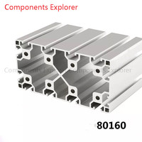 Arbitrary Cutting 1000mm 80160 Aluminum Extrusion Profile,Silvery Color.