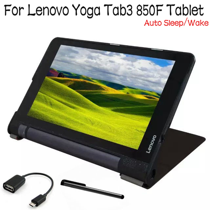 Top Quality Stand Smart Leather Cover for Lenovo Yoga Tab3 850F 8 inch Tablet Case With Auto Sleep/Wake Up+Free OTG+ Stylus Pen ultra thin smart flip pu leather cover for lenovo tab 2 a10 30 70f x30f x30m 10 1 tablet case screen protector stylus pen
