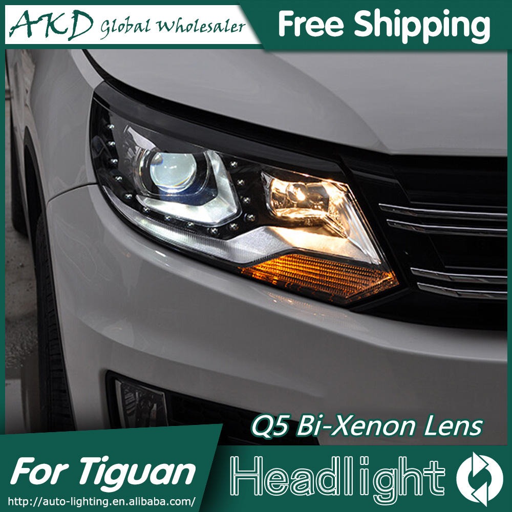 AKD Car Styling for VW Tiguan Headlights 2013-2015 New Tiguan LED Headlight DRL Bi Xenon Lens High Low Beam Parking Fog Lamp union car styling for ford fusion headlights 2013 2015 new fusion led headlight original drl bi xenon lens high low beam parking