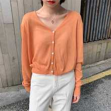 2019 Korean Version of Basic Pure-color V-neck Single-row Button-up Short Knitted Sweater Women Cardigans V-Neck Women Sweater недорого