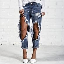 2017 Горячей продажи женщин рваные джинсы Мода boyfriend джинсы для женщин Свободные большой размер отверстия джинсовые брюки Бесплатная доставка