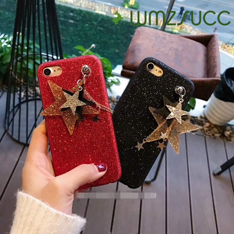 Fashion Bling Glitter Stars Soft TPU Phone Case Cover For iPhone 7 7Plus 6 6S Plus Beautiful Pendant Shockproof Cack Case Cover