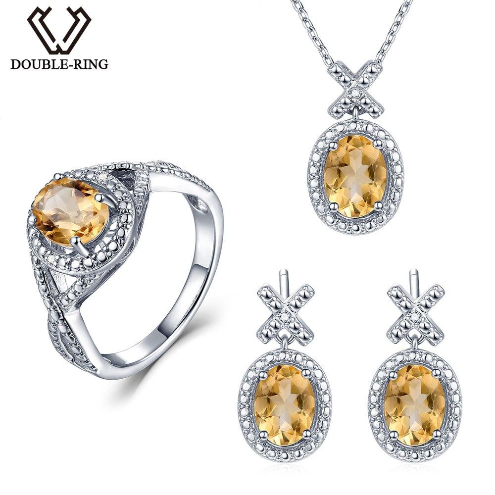 Doppel-r Natur Diamant Brautschmuck Sets Frauen 4,1 Ct Echten Citrin Ring Ohrring Anhänger Halskette 925 Silber Hochzeit Schmuck