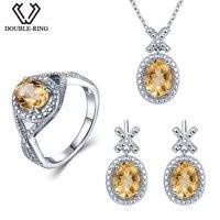 Duplo-R Conjuntos De Jóias de Noiva Mulheres 4.1 ct Natural Diamond Citrino Anel brinco Colar Pingente de Prata 925 Casamento Real jóias