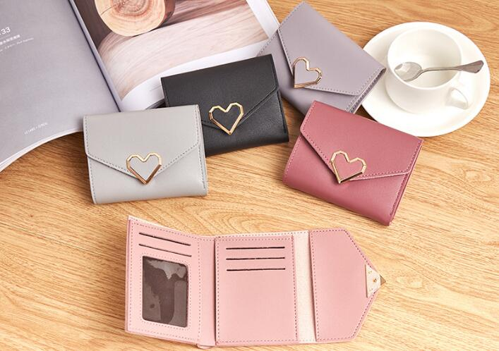 5 pcs Fashion Colorful Lady Lovely Coin Purse Solid Love Heart Wallet Large Capacity Women Small Bag Cute Card Hold new