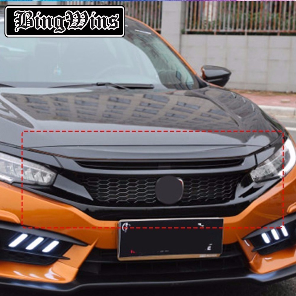 CAR STYLING ABS FRONT BUMPER Honeycomb GRILLE GRILL COVER TRIM BEZEL FRAME SURROUND MOLDING GARNISH FOR HONDA CIVIC 2016 2017 front grille led emblem logo light 4 colors abs decorative grill lamp for f ord r anger t7 2016 2017 car styling