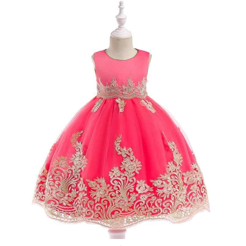 Новинка 2018 года, для детей возрастом от 3 до 10 лет, 4 цвета, платье-пачка с оборками для девочек на свадьбу, день рождения Цветочная детская одежда платье для девочек вечерние платья