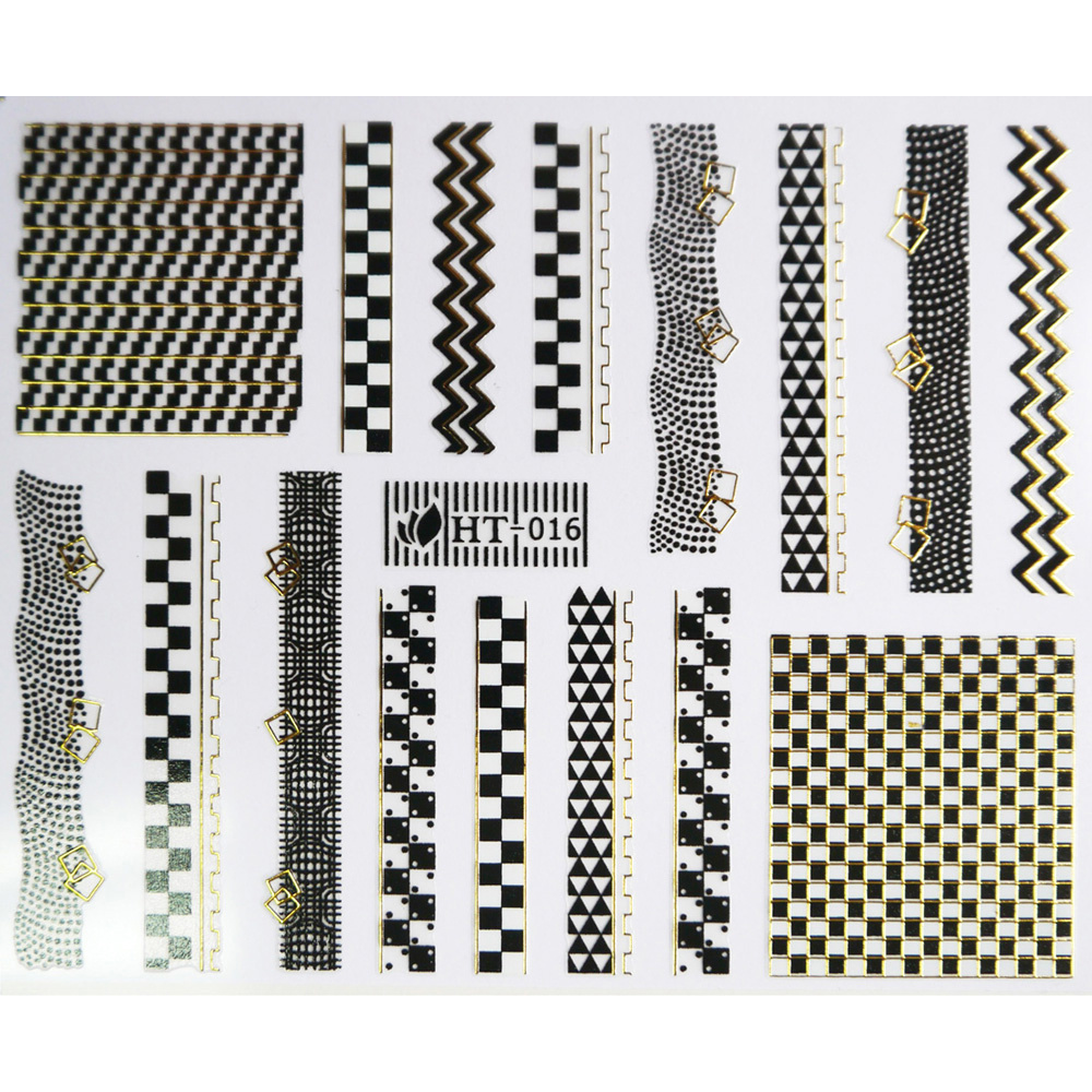 1X SELF ADHESIVE BLACK WHITE GOLD SILVER METAL NAIL ART STICKER DECAL SLIDER LACE CHESS BOARD CHAIN GUITAR PIANO HT16-18