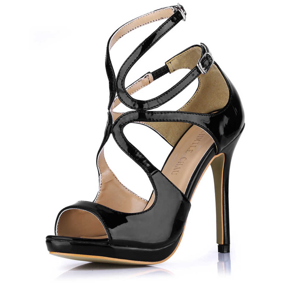 2016 New Sexy Elegant Party Shoes Women Peep Toe High Heels Ankle BuckleLadies Sandals Zapatos Mujer Plus Sizes 10.5 0640A-5b