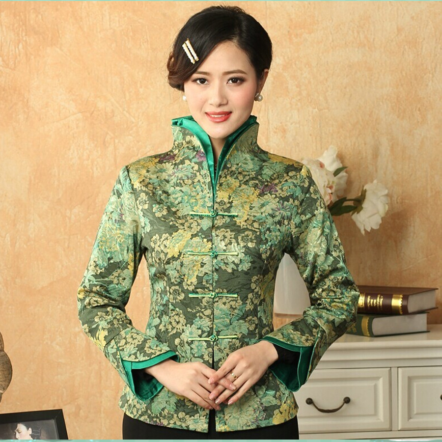 Luz verde de estilo chino tradicional de las mujeres con cuello en v flores coat