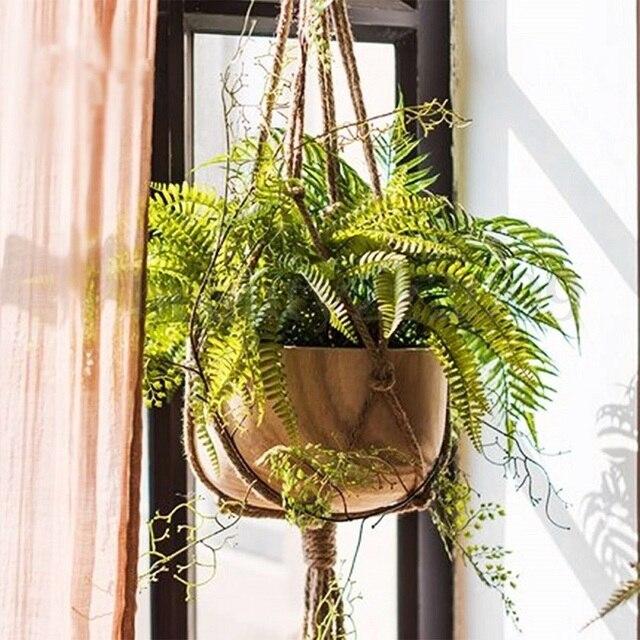 1Pc 2Sizes Pot Hanging Rope Hemp Macrame Plant Flower Pot Hanging Holder Basket Hanger Home Vertical Garden Balcony Decoration