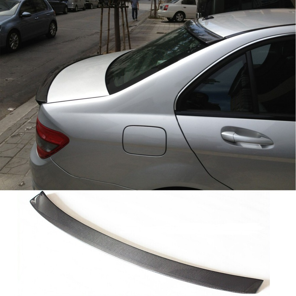 W204 Carbon Fiber Car Rear Roof spoiler Wing for Mercedes-Benz W204 C180 C200 C260 C300 2007-2014 mercedes w204 amg style carbon fiber spoiler trunk tail rear car wing for mercedes benz 2007 2013 c class w204 amg spoiler