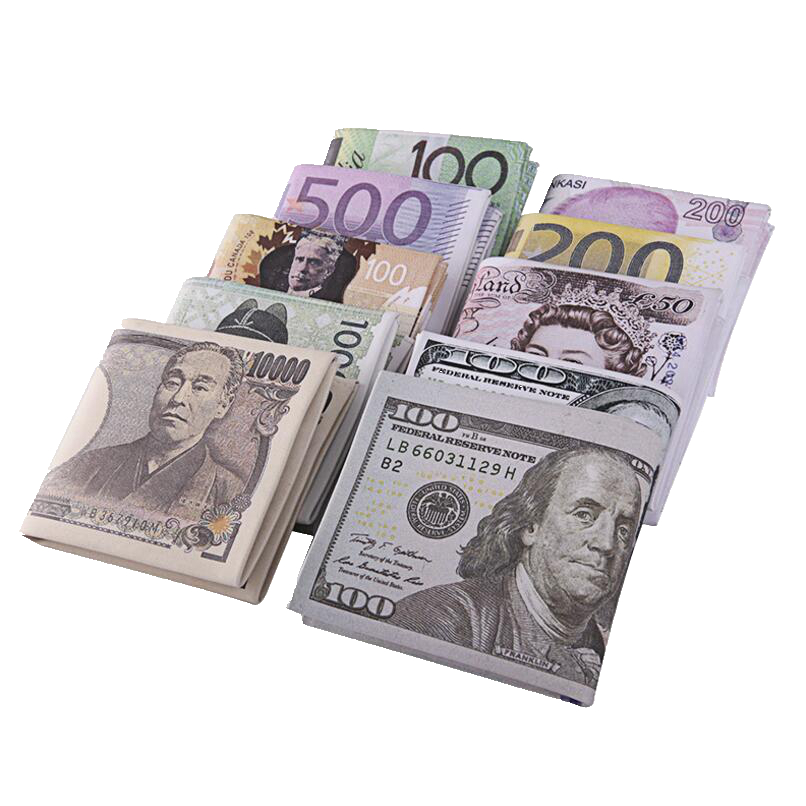 New Creative Money Printing Pattern Wallet Zipper Wallet Storage Package Dollar Sterling Euro Ruble Shape Compartment Coin Purse