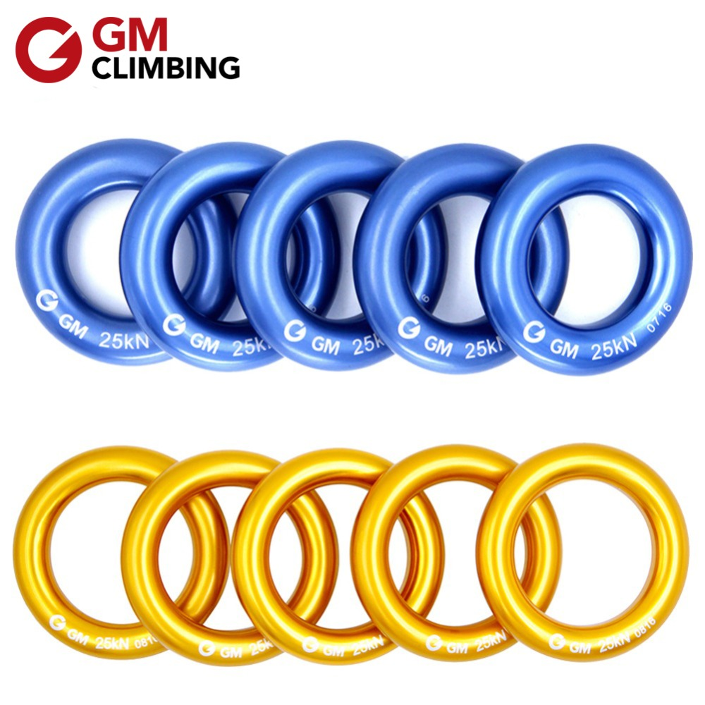 GM KLIMMEN Rappel Ring voor hangmatten Aluminium Descender Ringen 25 kN / 5600lbs O Ring voor Rescue Rotsklimmen Speleologie 10 stks