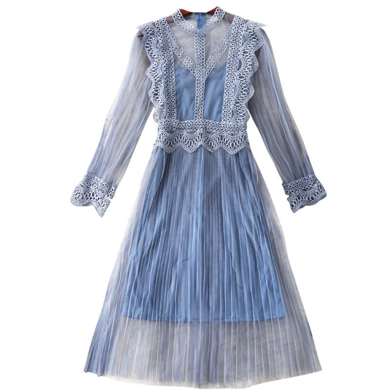 2018 New Ladies Elegant Mùa Hè Lưới Ren Ăn Mặc thời trang Nữ Dài Tay Áo Slim Sling Xanh Đảng Dresses Two Pieces Vestido