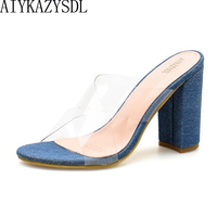 4391ea8c AIYKAZYSDL Women Crystal Sandals Cross Strap Slippers Outdoor PVC Shoes  Transparent Slide Mule Thick Block Chunky