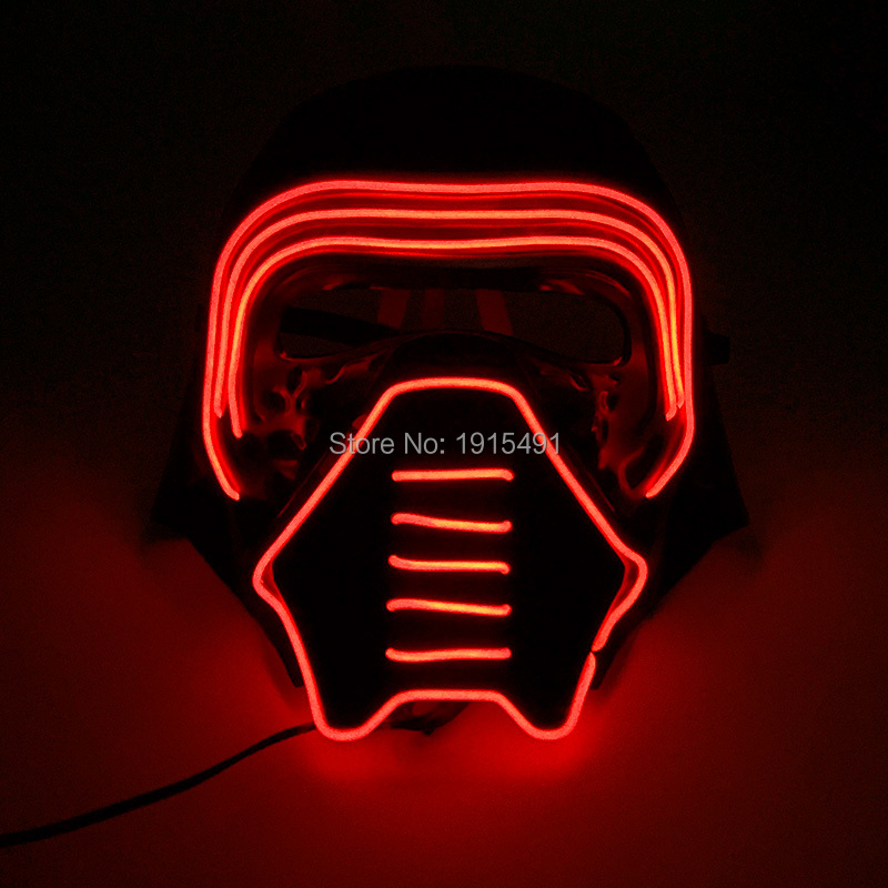 Music Active Birthday Party Decor EL Glow Light Luminous Soldier Mask Fluorescent Dance Favors Led Strip Rave Halloween Mask monster printed halloween decor head mask page 8