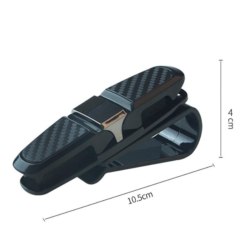 Car Glasses Clips Carbon Fiber Card Pen Holder 180 Degree Rotate Dual Side Clips Sun Visor