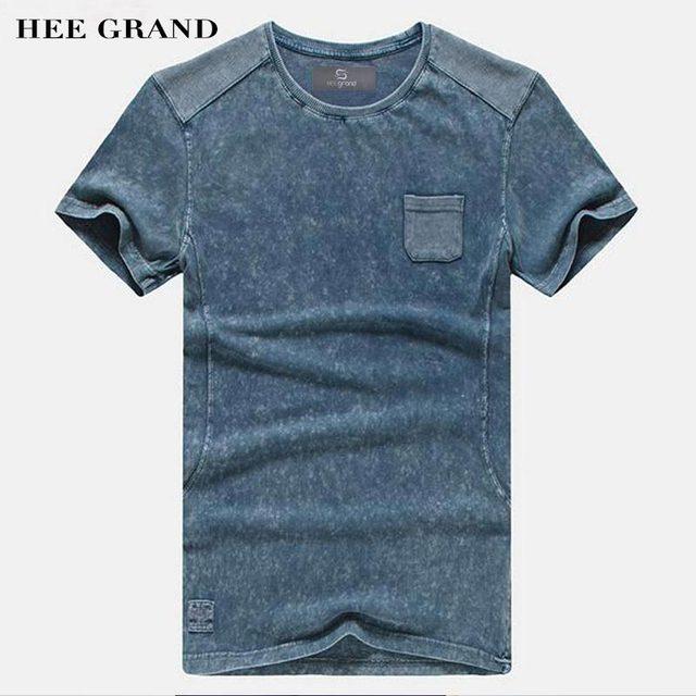 Hee Grand/2017 г. Лидер продаж мужские летние футболки Повседневная типичные Стиль 100% хлопок удобные Материал мужские футболки MTS2381