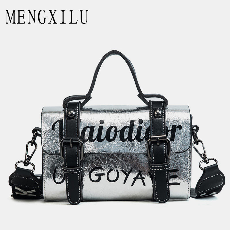 MENGXILU Silver Casual Tote Bags Handbags Women Famous Brand Designer Boston Crossbody Bags For Women Boston Sac A Main 2018 Hot