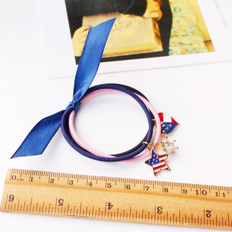 Sale 3PCS/Set Scrunchy Hair Rope Rubber Elastic Hair Bands Candy Color Hair Accessories Muiti-Color Cute pendant Bracelets
