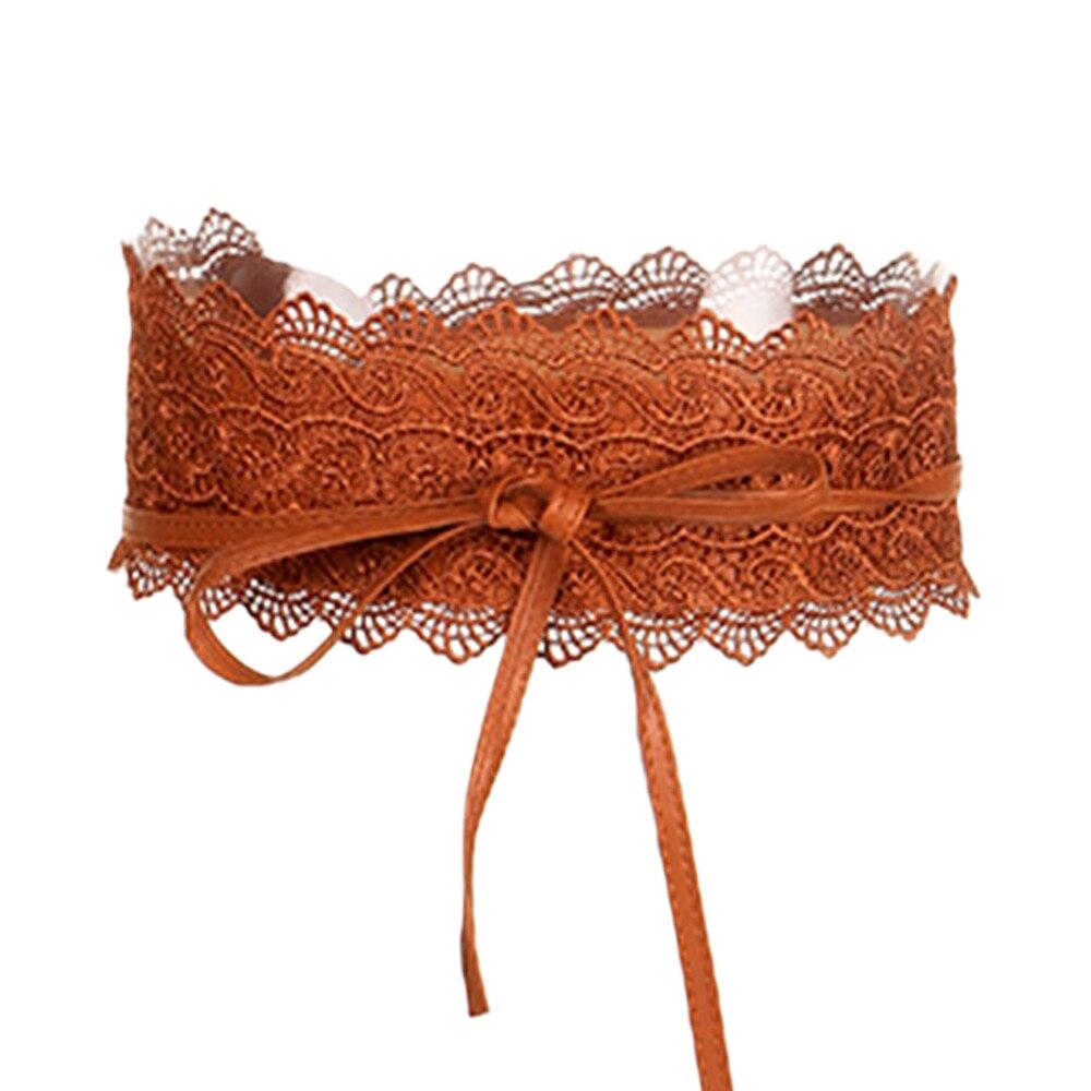 1 Pc Kant Riem Jurk Strik Faux Leather Brede Zelf Tie Boho Mode Voor Vrouwen Vrouwelijke Bruiloft Taille Band Populaire Decoratie Exquisite Traditional Embroidery Art