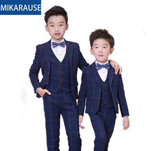 Kinderen Slim Fit Wol Plaid Jongens Wedding Past Jongen Blazers Formele Pak Sets Notched Smoking Tiener Party Jurk Blazer