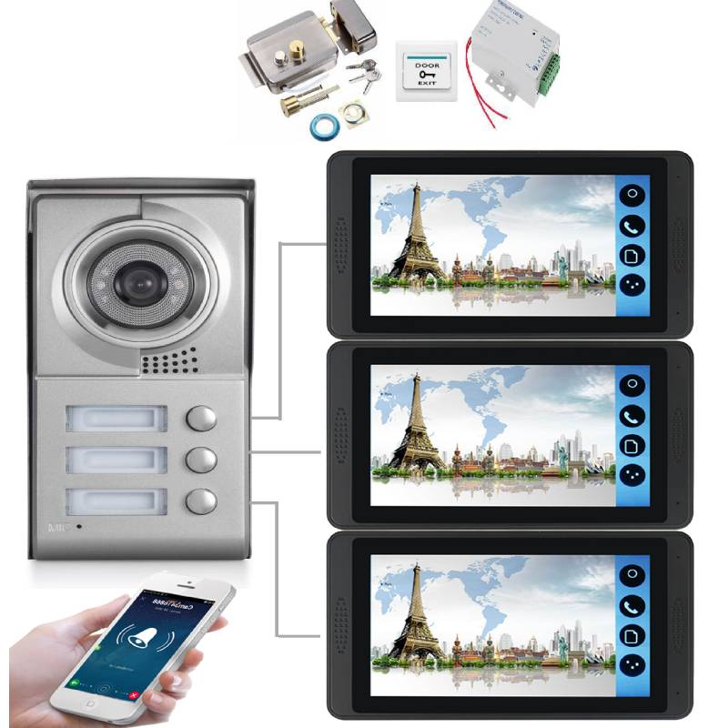 SmartYIBA 9 Inch Wired Wifi 3 Apartment Video Door Phone Intercom System RFID IR-CUT HD 1000TVL Camera Doorbell Camera