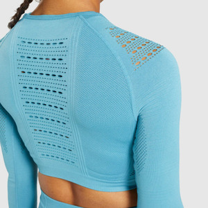 Image 5 - Flawless knit seamless yoga top fitness long sleeve women shirts workout gym crop top breathable sport shirt women