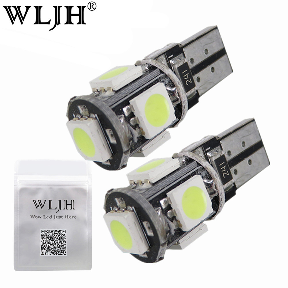 WLJH 10x White T10 5050SMD 5 LED Error Free Canbus W5W 194 168 2825 Car Lamp License Plate Light Bulbs Parking Light Wholesale 100pcs lot t10 5 smd 5050 led canbus error free car clearance lights w5w 194 5smd light bulbs no obc error white
