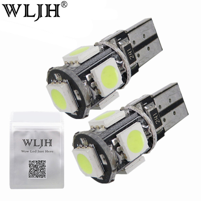 WLJH 10x White T10 5050SMD 5 LED Error Free Canbus W5W 194 168 2825 Car Lamp License Plate Light Bulbs Parking Light Wholesale