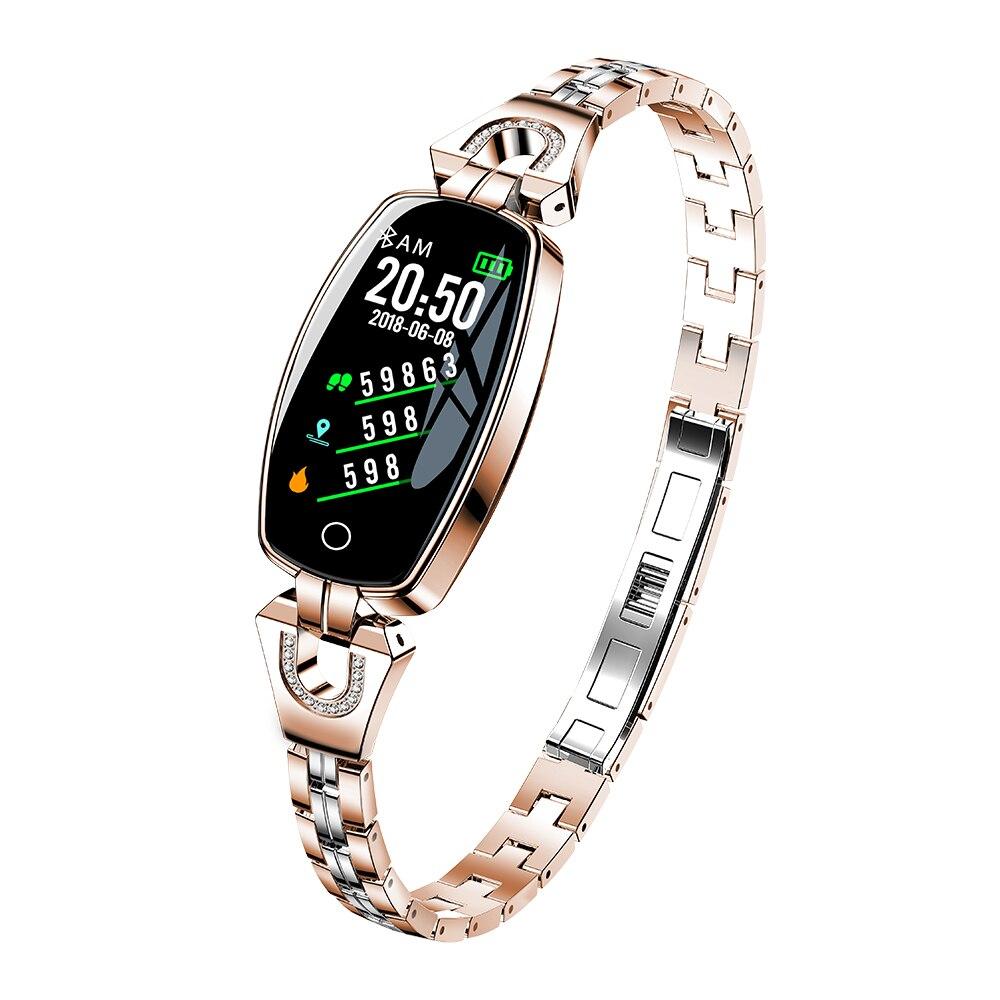 Умный браслет леди монитор сердечного ритма водонепроницаемые Смарт-часы Шагомер BLE 4,0 смарт-браслет IP67 фитнес - Цвет: Golden