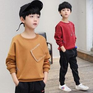 Image 2 - วัยรุ่นชายเสื้อยืด 2019 ฤดูใบไม้ร่วงฤดูใบไม้ผลิเด็กเต็มรูปแบบเสื้อ Casual ยาวแขนเสื้อเด็กเสื้อผ้าเสื้อ H212