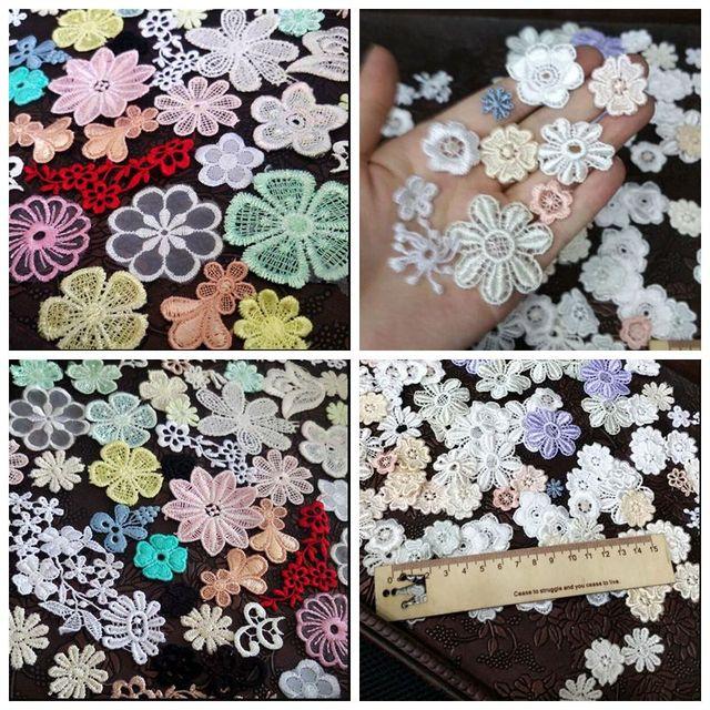 Mix 30 pcs solúvel em água de Flor de malha Bordado apliques de flores Acessórios de Vestuário Remendo Cartão do Scrapbook DIY Craft Decoração