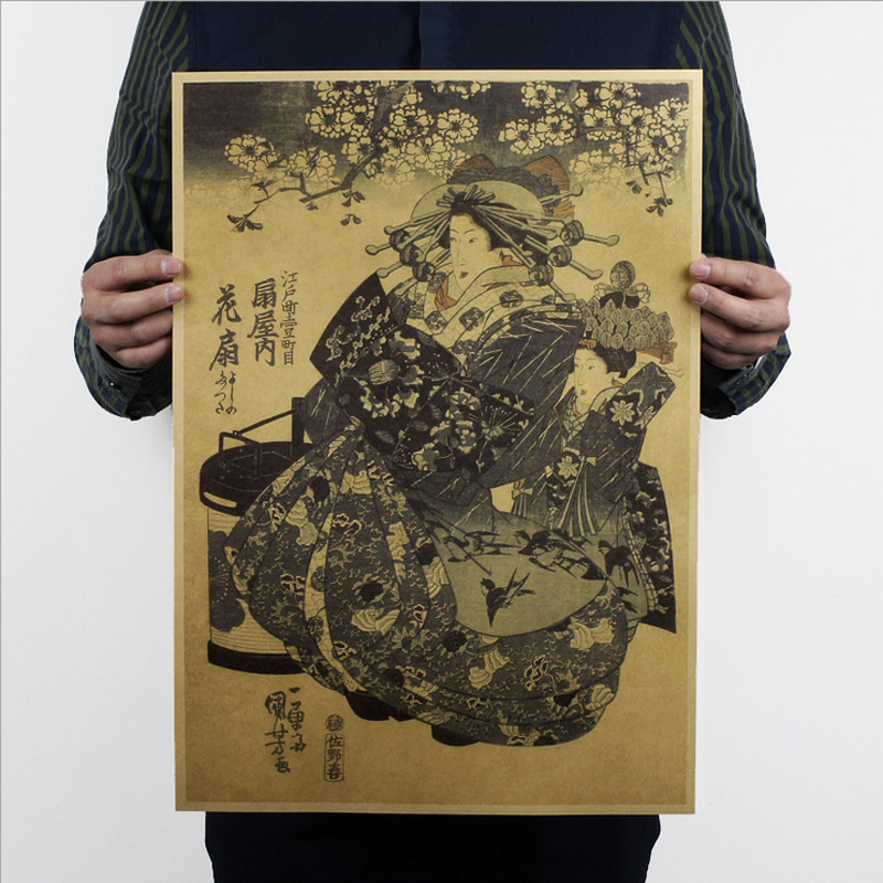 Free shipping, Japan Ukiyoe B Style/kraft paper/bar poster/Retro Poster/decorative painting 51x35.5cm