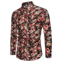 Floral Shirts Men Linen Long sleeve Slim Social Shirt Men's clothing Hawaiian Blouse Male Casual New цена