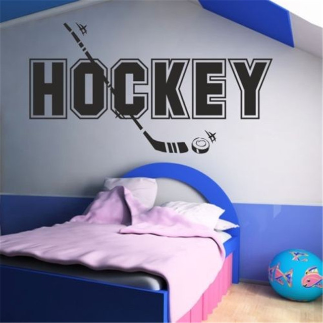 US $7.98 20% OFF|HOCKEY Wall Sticker Kids Bedroom Ice Sport Home Decor  Transfers Decal Artvinyl Stickers Wall Arts Wallpapers-in Wall Stickers  from ...