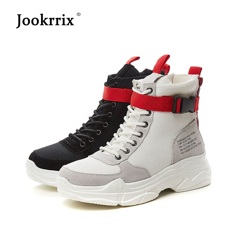 Jookrrix 2018 Autumn New Shoes Women Fashion Brand Girl Retro White Sneakers High Top Fashion Brand Shoes Lady All Match Black