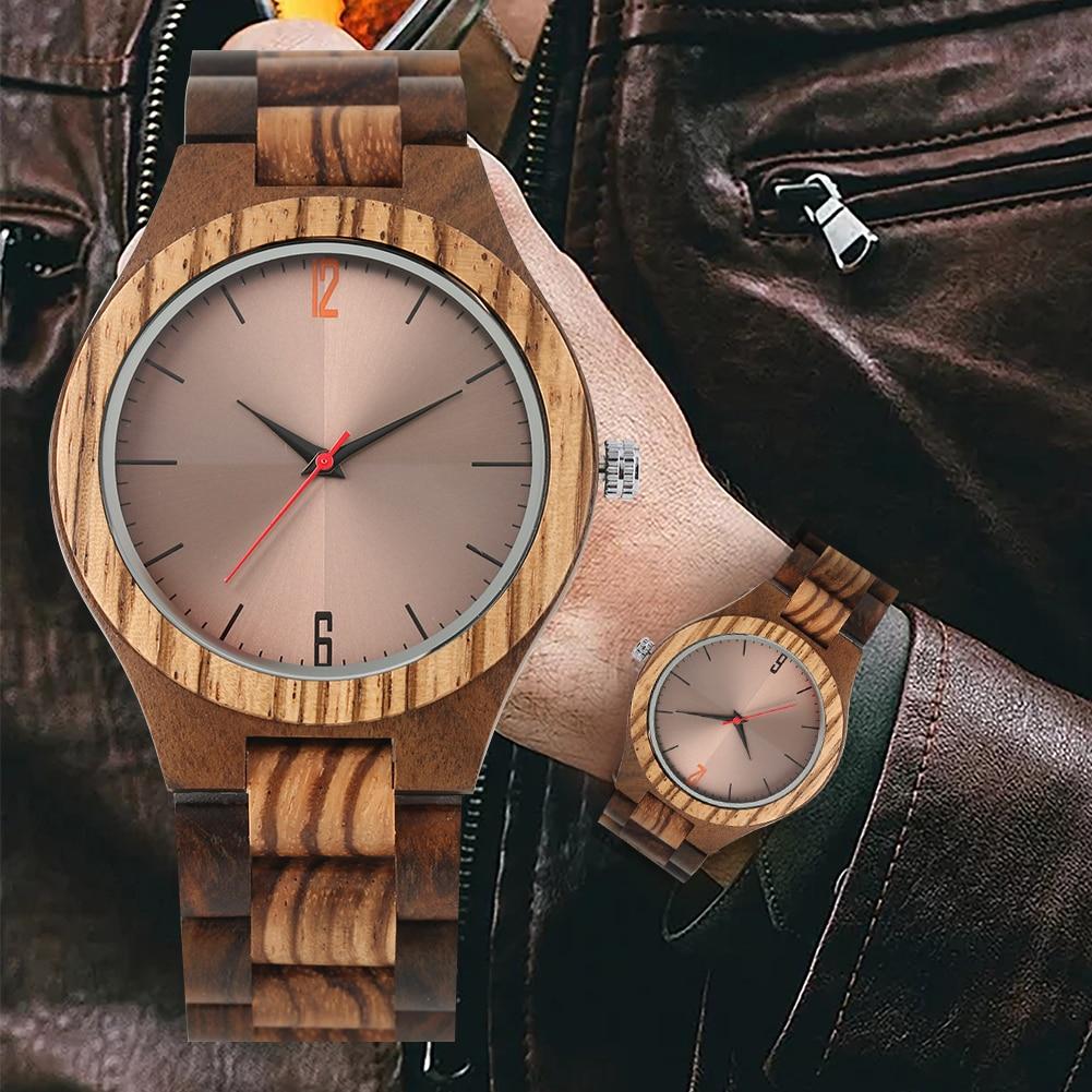 Men's Wooden Wristwatches Wooden Quartz Watches Lightweight Handmade Ebony Wood Reflective Surface(China)