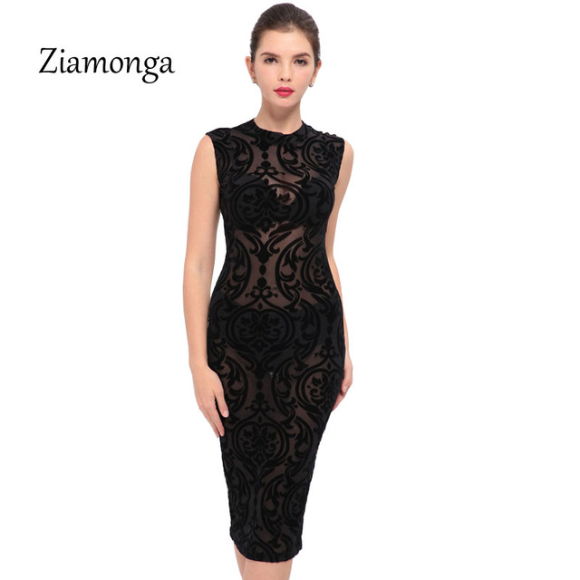 5ef0ef167e7f Ziamonga Black Blue Wine Red Sexy Midi Velvet Dresses Women Sheer Mesh  Floral Bodycon Dress Elegant Casual Latex Bandage Dress