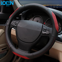 High Quality Cowhide Genuine Leather Hand Stitched Car Steering Wheel Cover Breathable And Anti Slip Fit