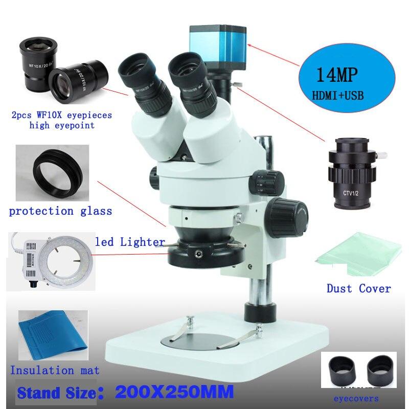 NEWSCOPE 7X 45X Trinocular Stereo Zoom Microscope 14MP Camera HDMI TF Card Storage Microscope Light Ring Protection Cover