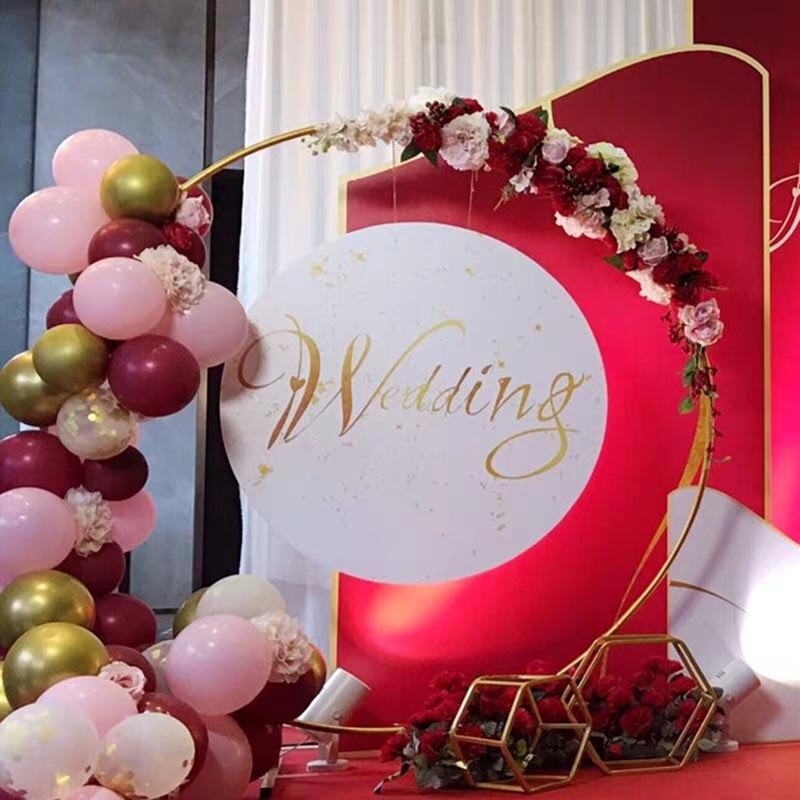 Fondo de arco de boda redondo estante de hierro pared de fondo decoración de boda DIY fiesta flor planta pared globo soporte-in Arcos para boda from Hogar y Mascotas    1