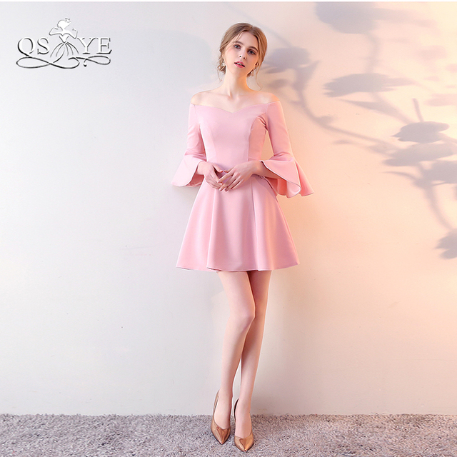 Blush Pink Short Prom Dresses 2018 New Arrival Off Shoulder ...