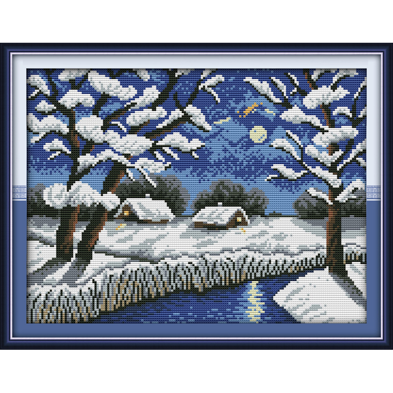 Everlasting love River views in winter Chinese cross stitch kits Ecological cotton 11 stamped printed New Christmas decorations