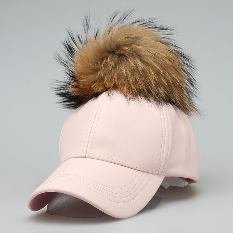 2017 PU Fashion Real Raccoon Fur Ball Pompom pom Leather Baseball Cap Autumn Winter Hats Female For Women Men Dad Snapback Hat fashion solid color pu leather baseball cap for men