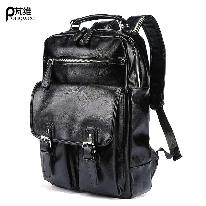 PONGWEE Brand Women Leather Backpack Style Designer Black Bookbag Mochila Mujer De Couro Feminina Back Pack