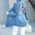 Abrigos de la mujer 2017 Delgado impresión de la letra Femenina Chaqueta Vaquera de Manga Larga Bolsillos Casual azul más el tamaño de las señoras Jeans Chaquetas abrigo