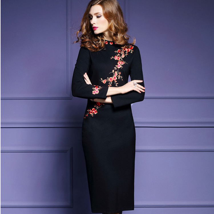 d688a204fb7 Plus Size Black Vintage Dress Women Maxi Party Sexy Long Sleeve Dress  Casual Woman National Wind Plum Embroidered Mid calf-in Dresses from Women s  Clothing ...