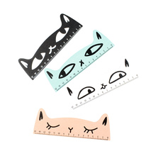 1PC Kawaii cat design ruler Funny stationery wooden rulers Office accessories School escolar kids study supplies